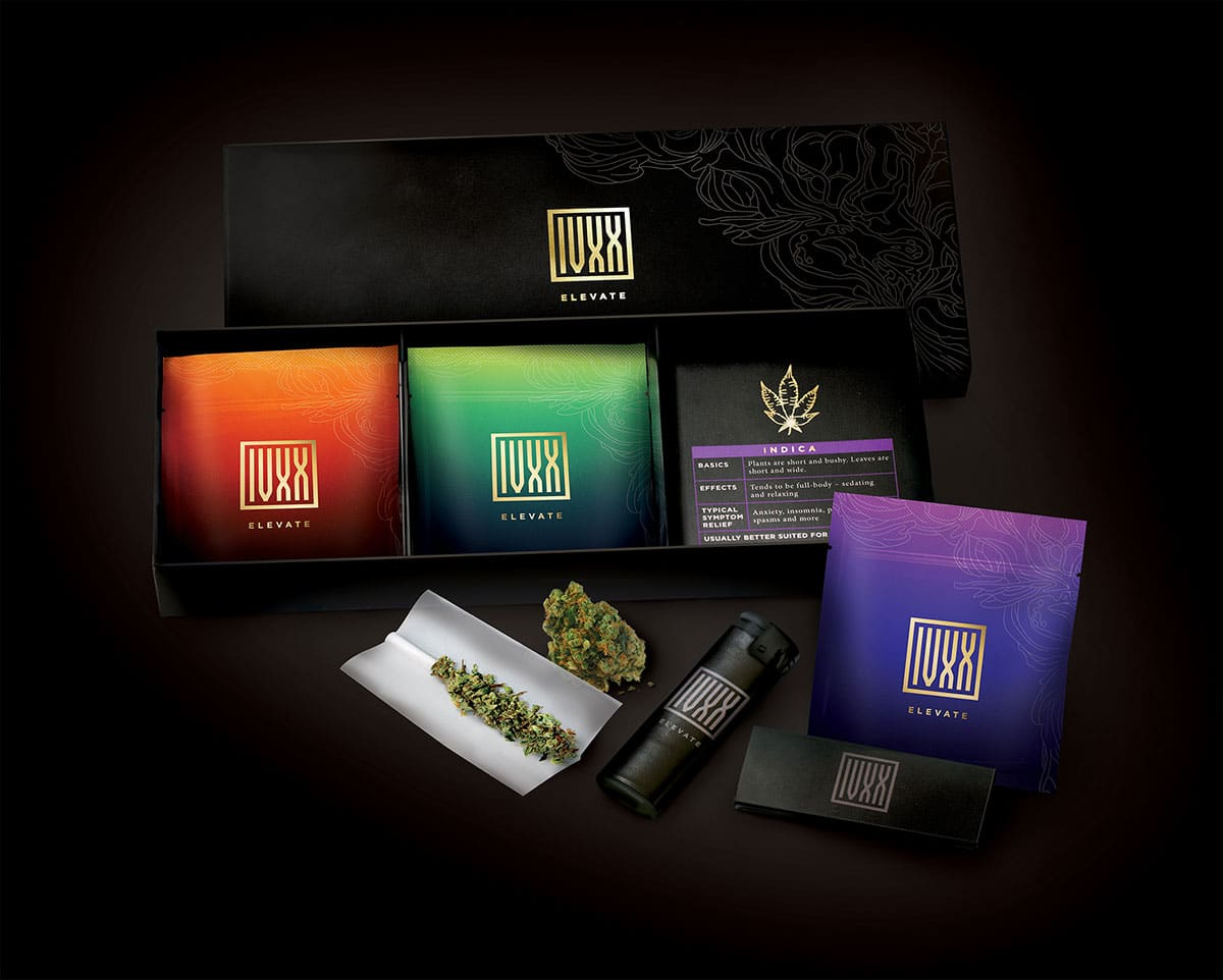 IVXX Home Starter Kit, includes cannabis flower, papers, and lighter. Represented by NisonCo cannabis public relations.